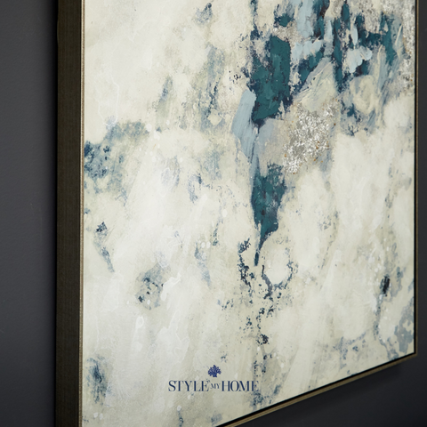'Foamy Mist' Canvas in Antique Silver Frame