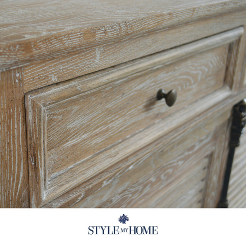 Whitewash oak storage sideboard with louvre doors and brass handle details