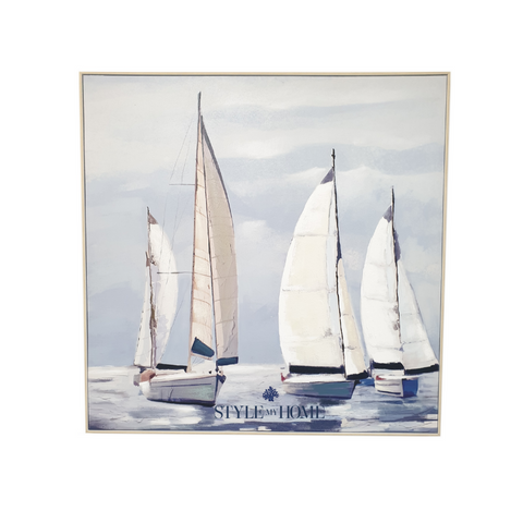 'Sail Away' Canvas in Natural Frame