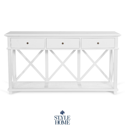 'PALM COVE' Three Drawer Console with Painted White Rattan Shelf