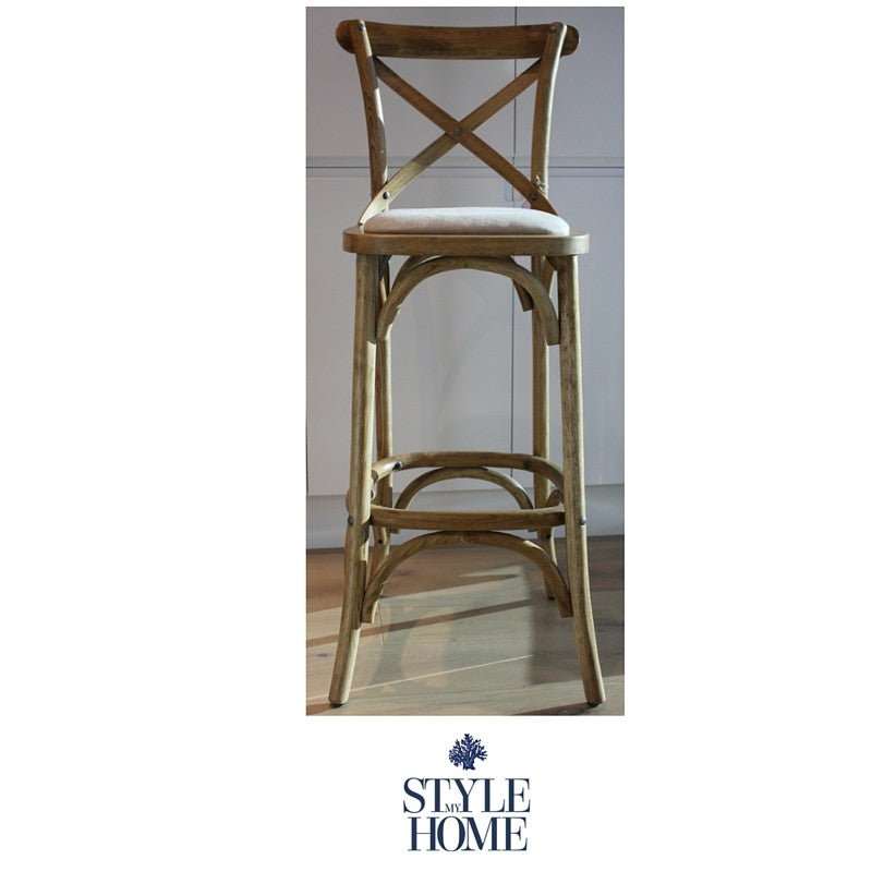 'DAVID' Padded Cross-back Kitchen Stool solid oak frame Hamptons provincial