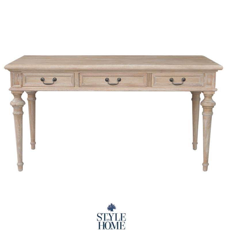 The Balmoral is a three drawer white wash oak desk with pull drop handles. Classic styled desk by Style My Home Australia