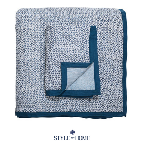 Blue and White Cotton Voile Quilt Set