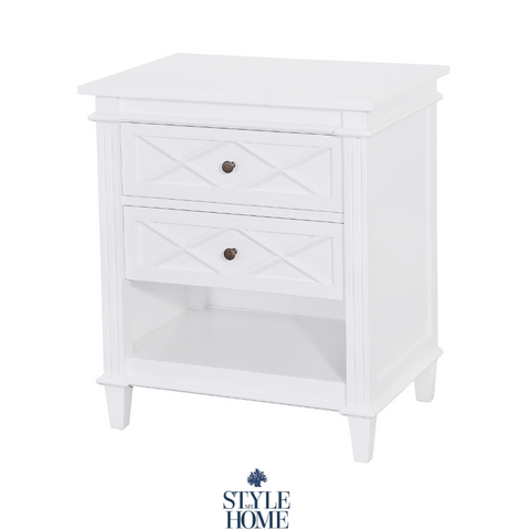 'Ascot' Luxury White Bedside with 2 drawers