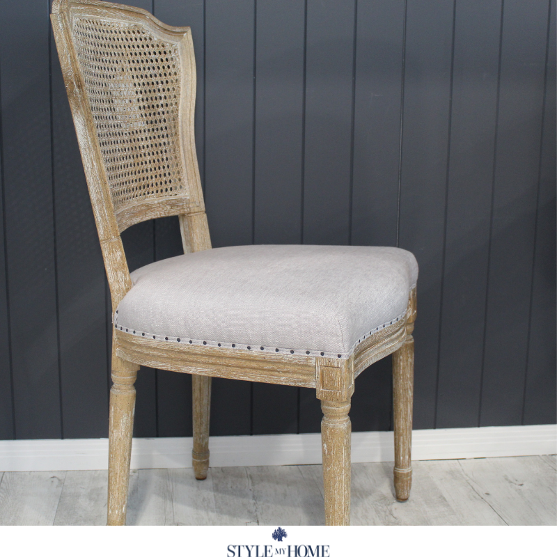 'April' Luxury Upholstered Dining Chair country Hamptons style my home oak rattan chair