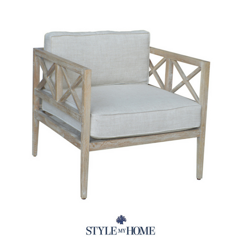 'MIA' Whitewash Oak Coastal Armchair