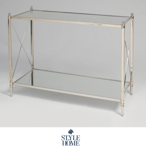 'HUDSON' Nickel Cross Bar Console Table