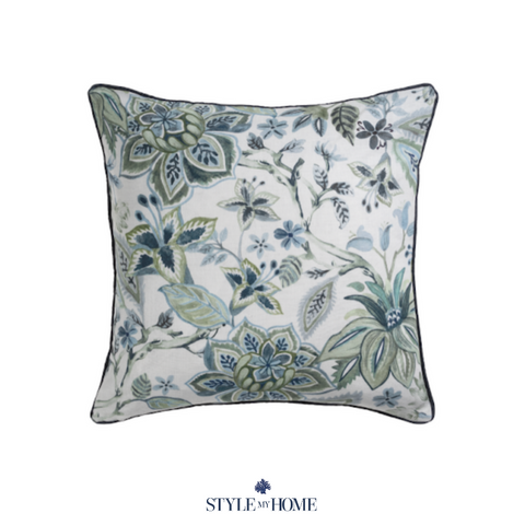 Avignon Pistachio Chinoiserie Cushion with Feather Insert