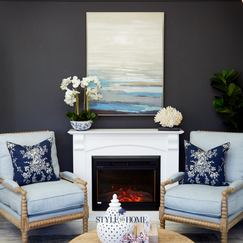 'Navy Cliff View' Canvas in Natural Frame