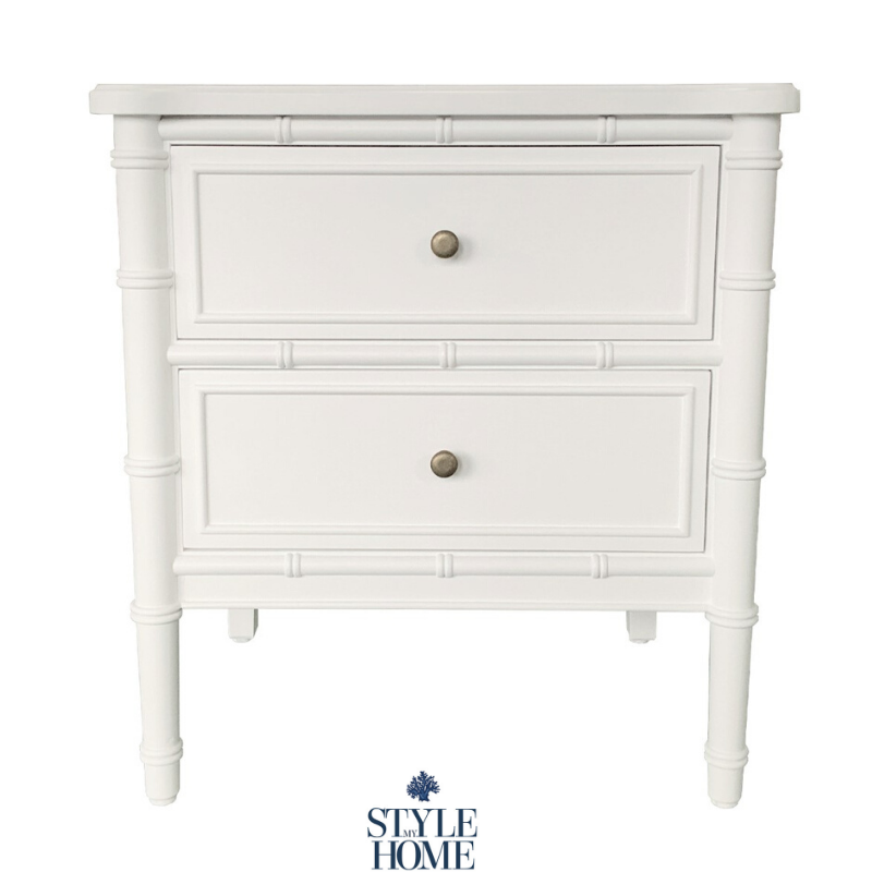 white bamboo bedside table hamptons