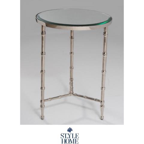 'BAMBOO' Nickel Round Side Table
