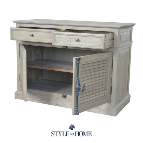 Weathered oak storage sideboard with louvre doors and brass handle details