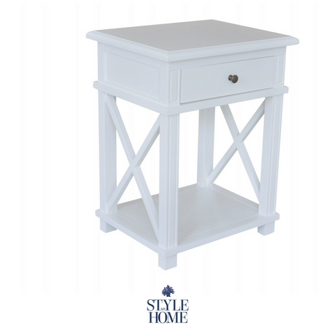 hamptons oak white leg bedside