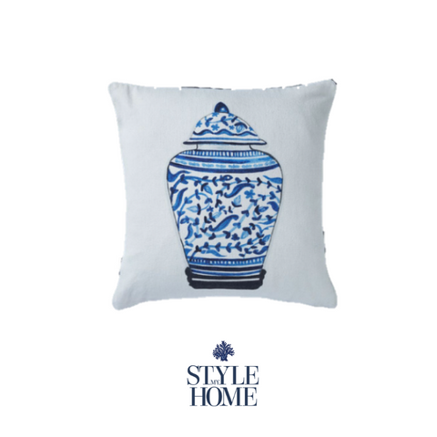 Ginger Jar Blue & White Piped Cushion