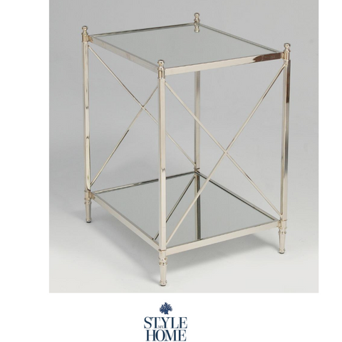 'HUDSON' Nickel Cross Bar Square Side Table