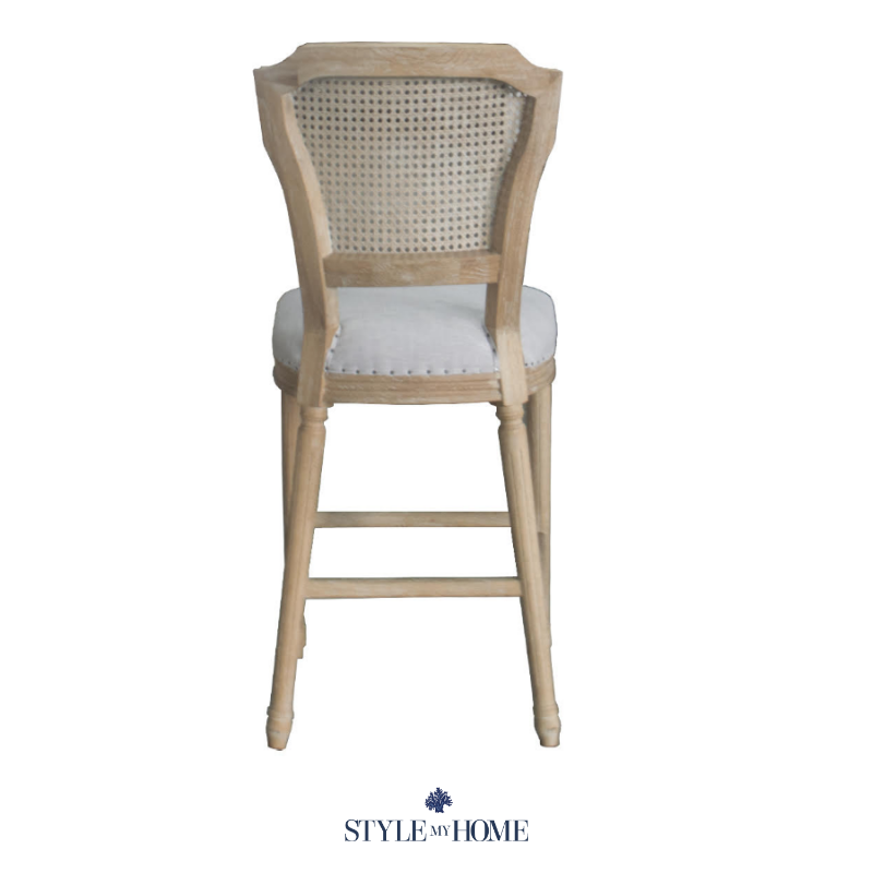 April luxury upholstered kitchen stool oak Hamptons French provincial