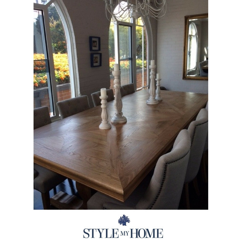 HAMPTONS Parquetry Oak Dining Table pedestal legs country french oak