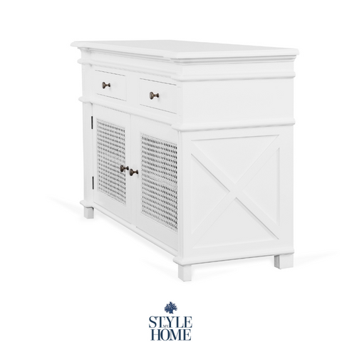 'PALM COVE' Buffet/ Entertainment Unit with Painted White Rattan Doors