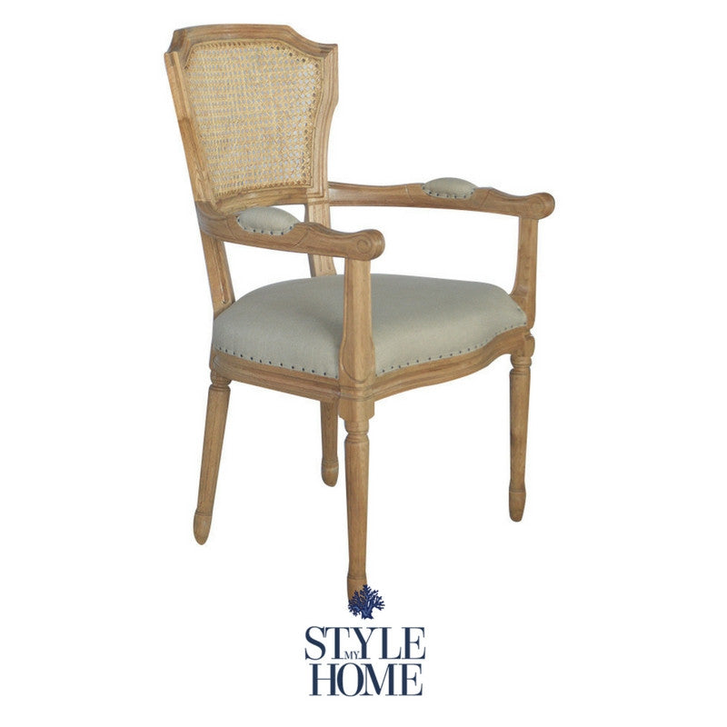 'April' with Arms  Luxury Upholstered Dining Chair Rattan oak country Hamptons carver chair style my home