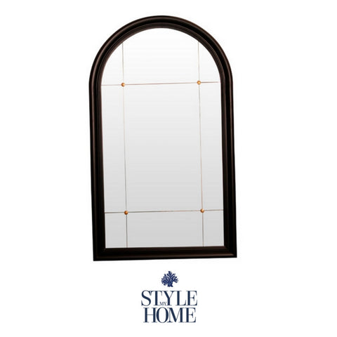 Black Arch Mirror with Gold Detail