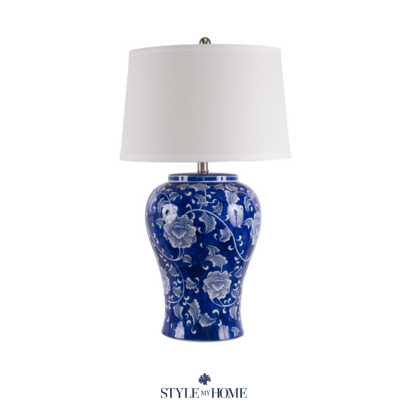 Lamp with blue trellis print design in navy with white detailing and a white lamp shade