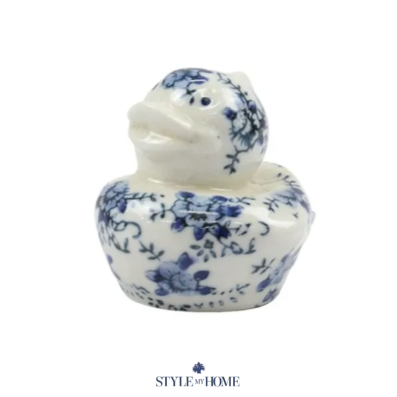 Blue and white duck sculpture