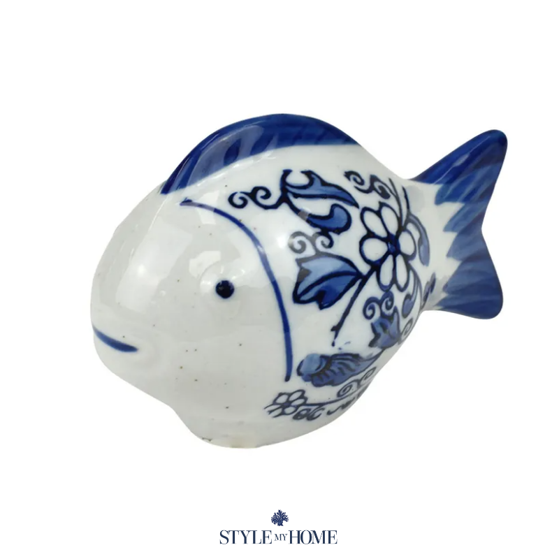 Blue and white fish sculpture