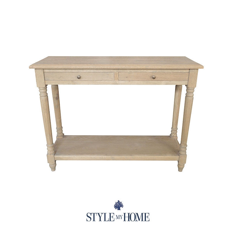 CALLUM Natural Oak Console with Shelf Style My Home Sydney Australia Hamptons Country