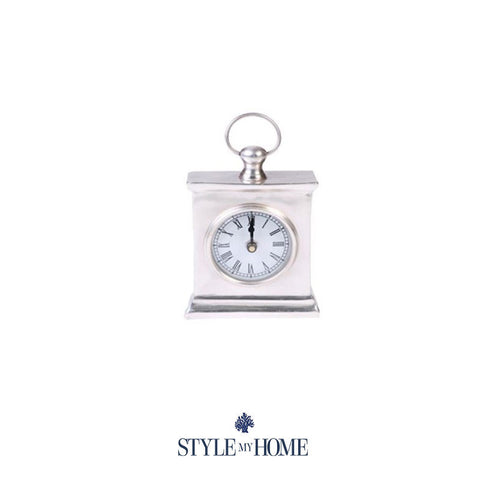 Hamptons Style Chrome Silver Clock Mantel from Style My Home Australia