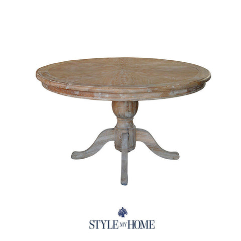 CHLOE Whitewash Coastal Pedestal 6 Seat Table by Style My Home Australia Sydney Hamptons Country Coastal
