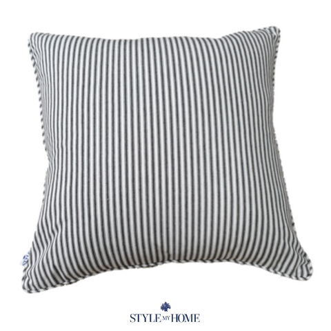 Classic Black Striped Luxury Cushion with Piping
