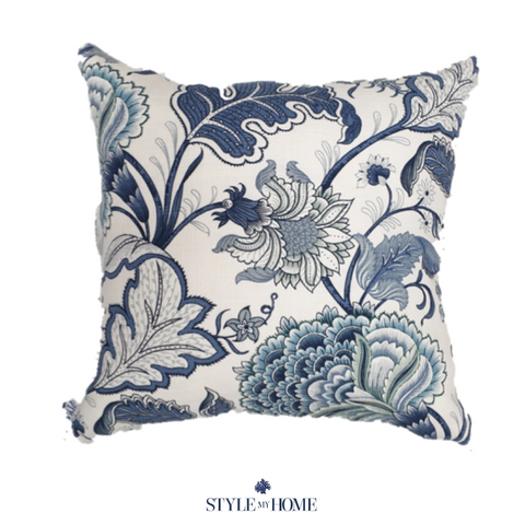 bohemian blossom hamptons floral blue cushion