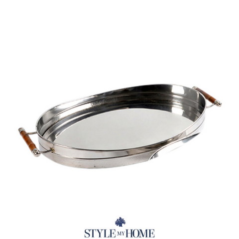 Nickel & bamboo serving tray