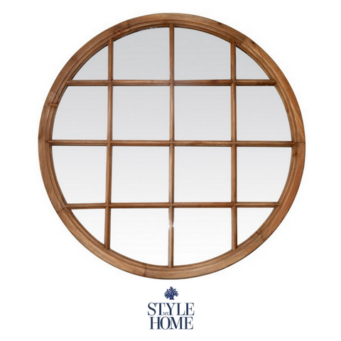 Natural Timber Round Mirror with Panes