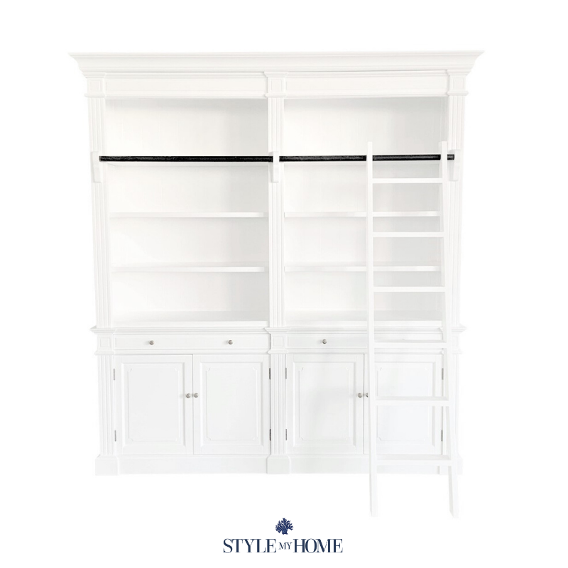 HAMPTONS LIBRARY BOOKCASE WHITE