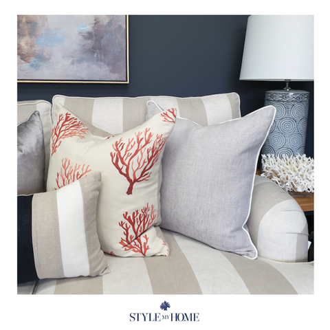 Santorini Coral Luxury Cushion