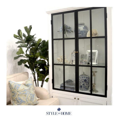 HAMPTONS GLASS CABINET WITH BACK IRON DOORS