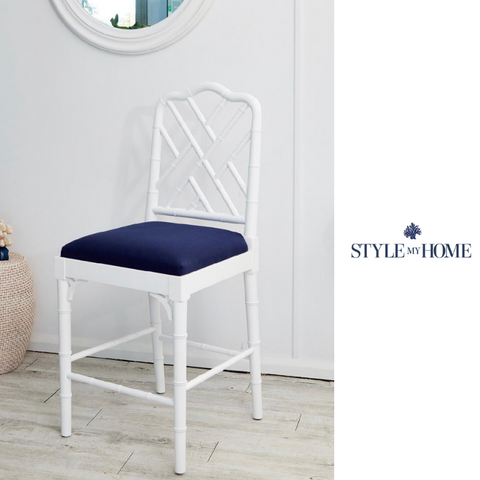 'Chippendale' Luxury Stool with Padded Linen Seat- Satin White