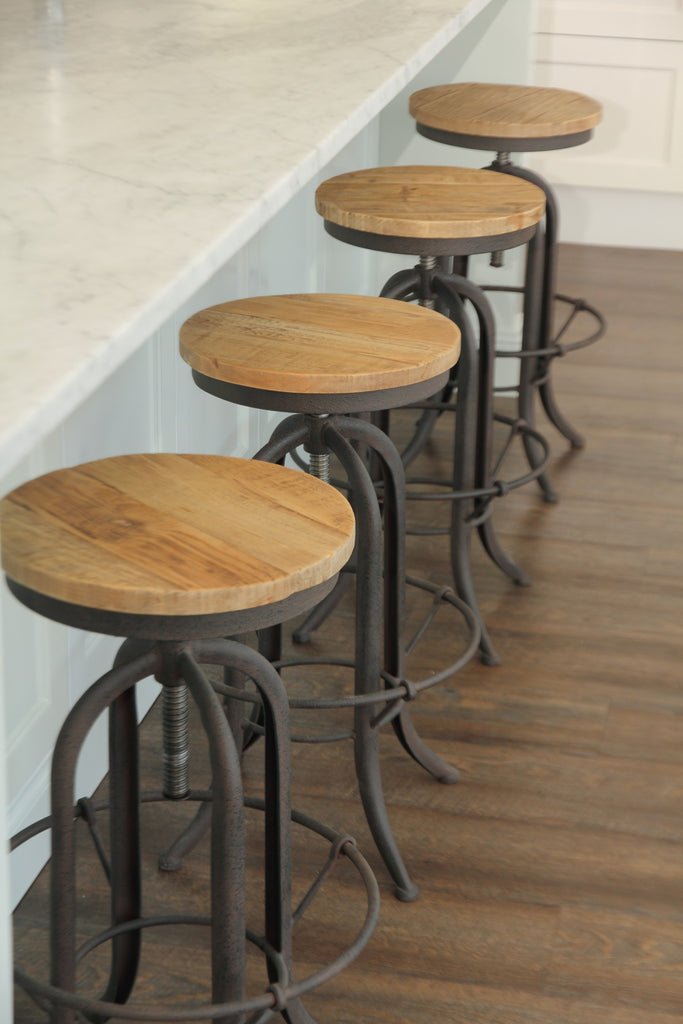 XAVIER recycled Oak & black Steel Bar Stool with adjustable seat Style My Home Australia Sydney Industrial
