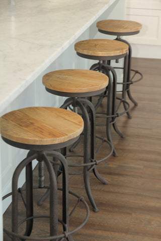 'XAVIER'Oak & Steel Bar Stool