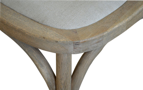 DAVID Padded Oatmeal Linen & Oak Cross-back Chair Style My Home Sydney Australia Hamptons Coastal