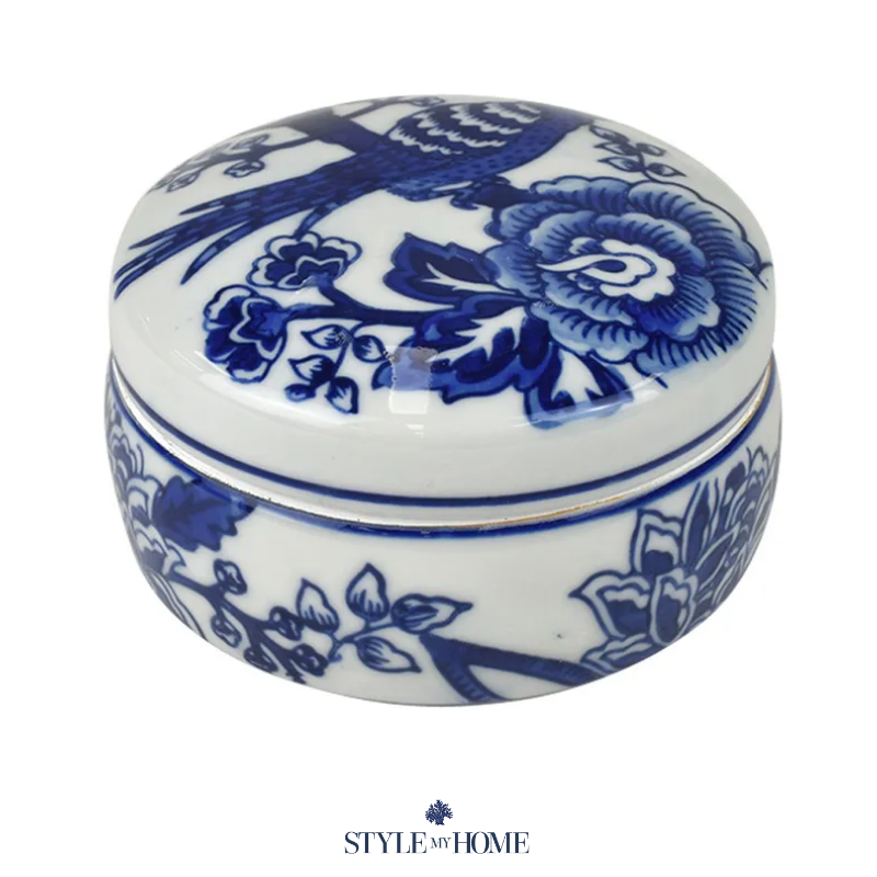 Blue and white floral print trinket box