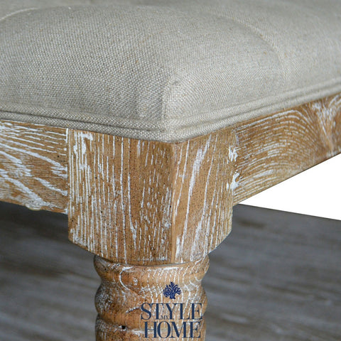 French Country Linen Upholstered Bench