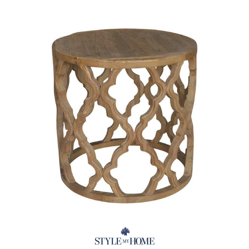 hamptons carved round side table