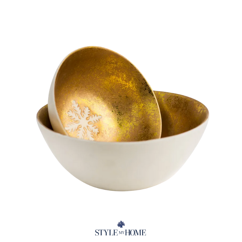 Ceramic bowl with foiled gold and snowflake detailing