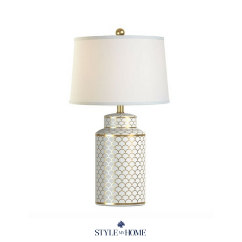 Hamptons Style White Gold Lamp by Style My Home Australia