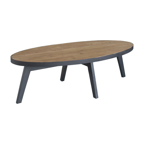 'OLIVE' Recycled Wood & Iron Oval Coffee Table