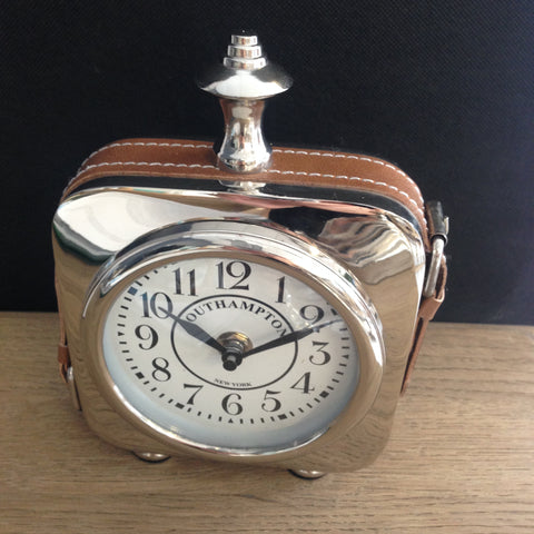 Nickel Desk Clock with Leather Strap