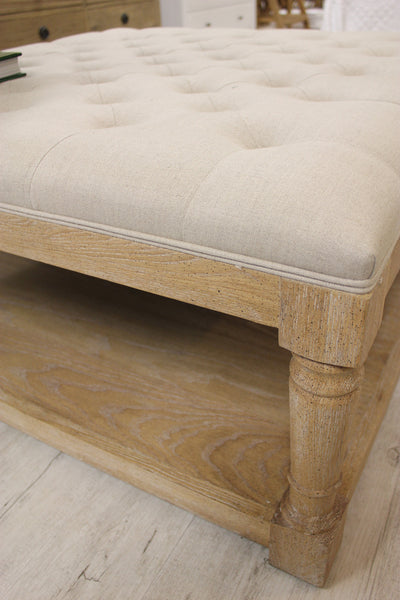 French Country Linen Upholstered Bench Style My Home