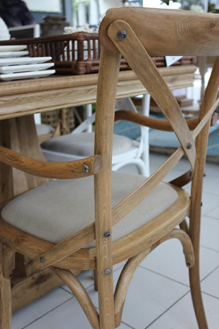 'DAVID' Carver Chair with Linen Seat